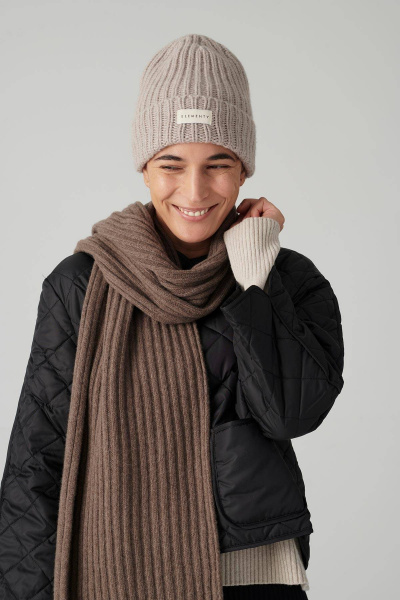 SCARF RIBS CASHMERE Brown